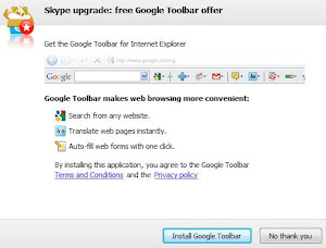 Skype bundled with Google toolbar