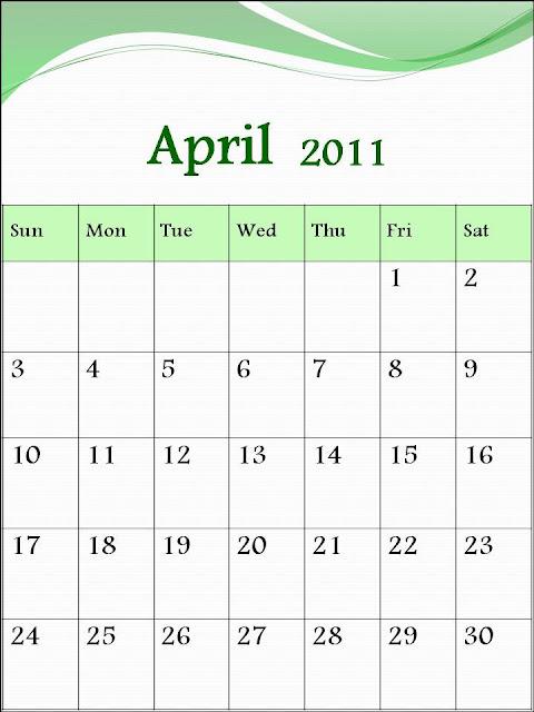 free april 2011 calendar template. april calendar template 2011.