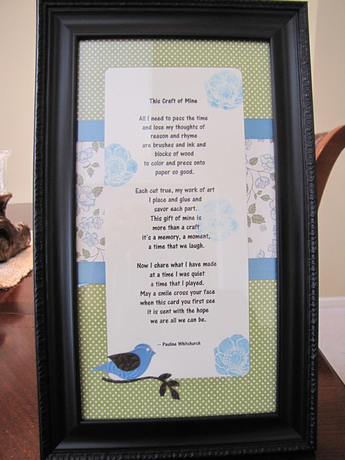DePalma\'s Stampin\' Dispatch: Framed craft poem for my secret sister