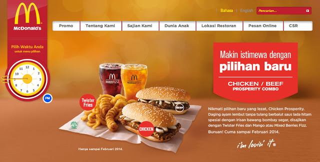 page for the Prosperity Burger on McDonald's Indonesia website