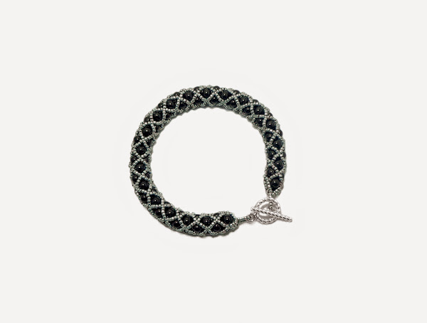 Black and Silver Netted Bracelet by FusionFrenzy