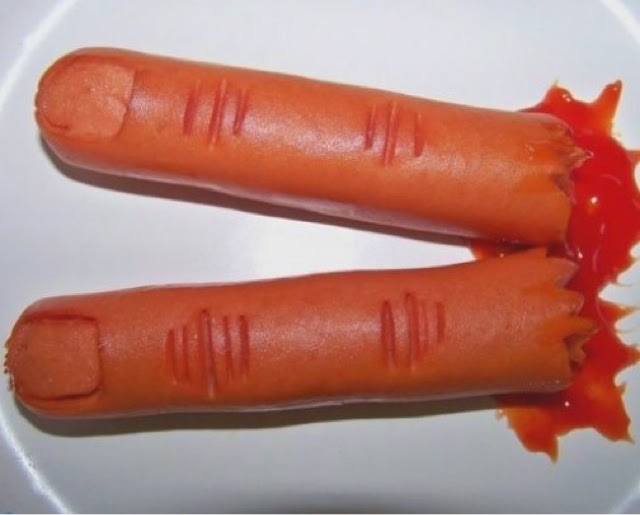 Hot Dog Severed Fingers for Halloween party food