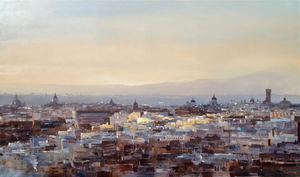 Cristobal Perez García,Pintura en oleo Madrid al alba