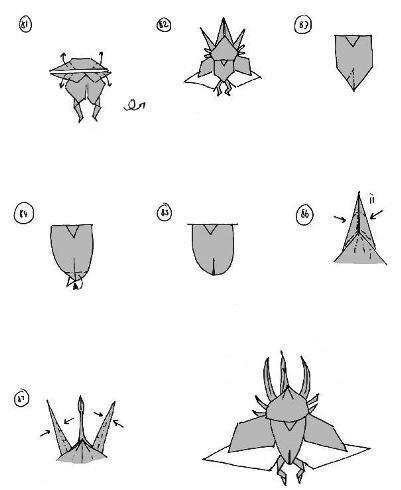 Origami Instructions Atlas Beetle 3D