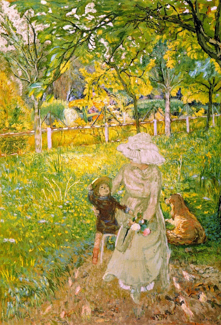 Édouard Vuillard - Sunny Morning, Lucy Hessel and Denise Natanson in the Garden at Les Pavillons, Villerville