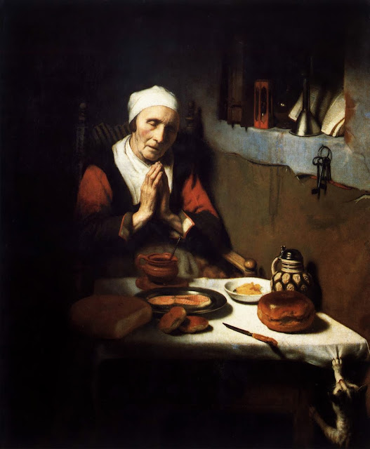 Nicolaes Maes - Old Woman Saying Grace