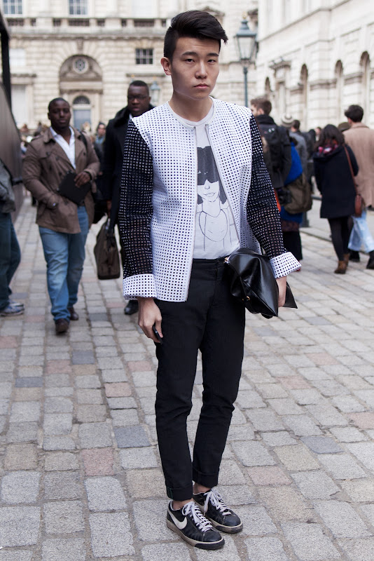 Monochrome street style at London Fashion Week