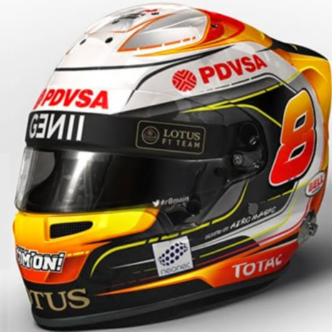 Piuttosto complesso lo schema usato da Grosjean. Da notare il numero 8 e una certa predominanza arancione