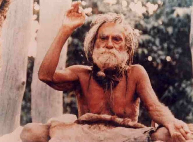 Devraha Baba in pose of giving blessing to the Jivas of whole world
