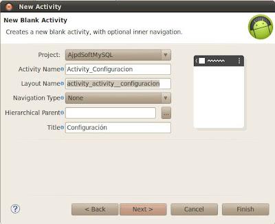 Añadir segundo activity para introducción de los datos de conexión con servidor MySQL