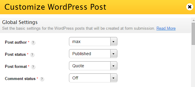 create wordpress posts through form submissions
