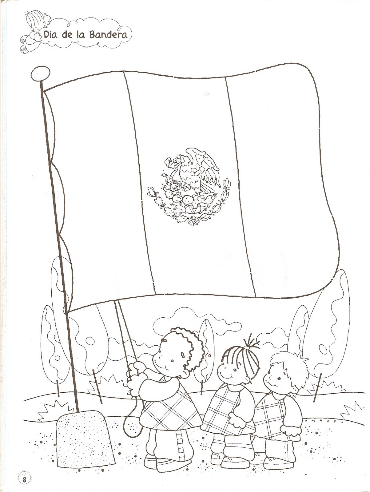 Increíble Hoja Para Colorear De Bandera Mexicana Imagen - Enmarcado ...