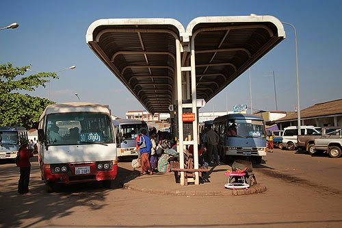 Bus station in Vientiane, taking the bus in Laos