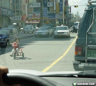 kid in heavy traffic