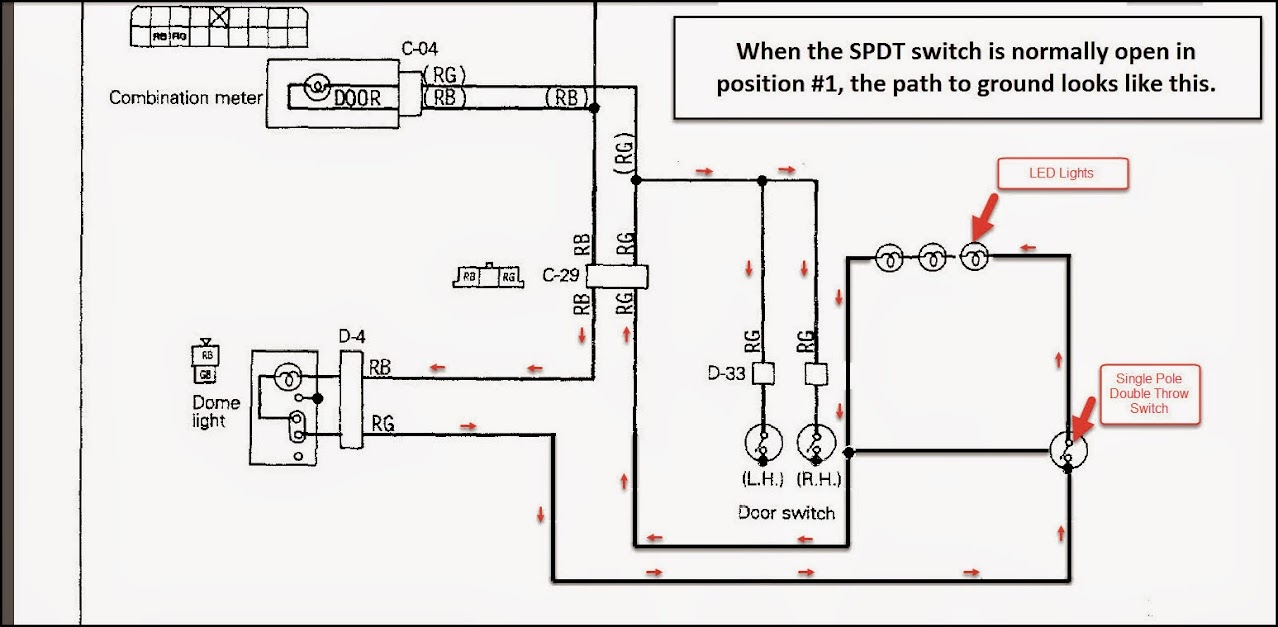 Calling On Electrical Circuit Experts 4x4wire Trailtalk Spst Switch Wiring Diagram It Will Work With A However If I Toggle The Spdt To Second Position So Normally Open Path Ground Gets Diverted Without Lighting Up Led Lights