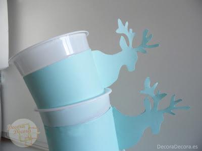 Vasos decorados para una fiesta de invierno.