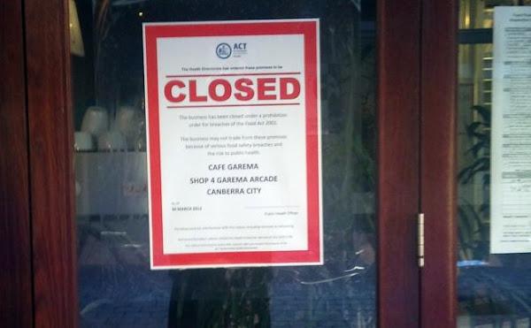 cafe garema prohibition notice