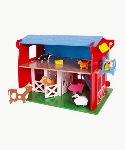 Wooden big red barn toy set