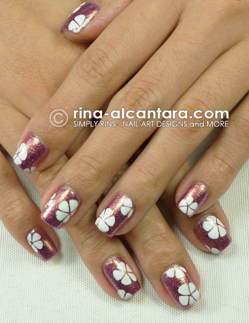 Stenciled Flowers Nail Art Design