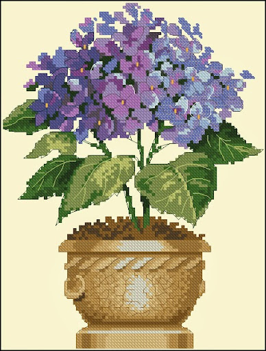 Hydrangea in Bloomcross stitch pattern