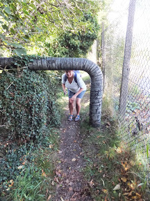 Pipe obstacle as the Gipping Valley Path negotiates the more industrial areas of Stowmarket