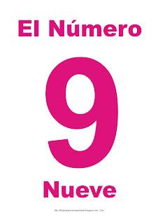 Lámina para imprimir el número nueve en color magenta
