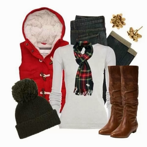 Red sleeveless jacket, white blouse, warm hat and long boots for fall