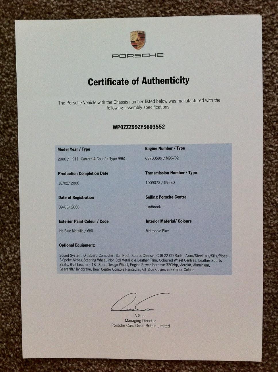 authenticity porsche certificate engine rnd ebs rebuild fsi vertex comparison rennlist