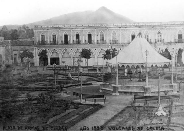 plaza de armas colima año de 1885
