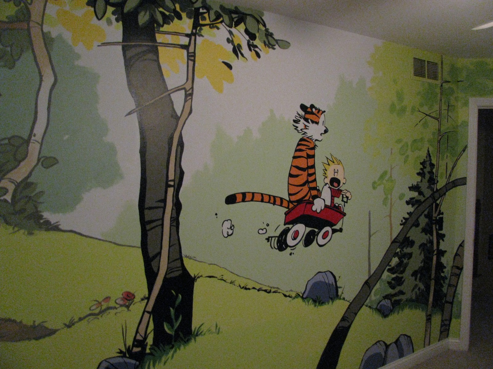 Sanity with five kids calvin and hobbes mural for Calvin and hobbes nursery mural