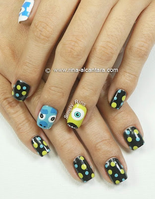 Monster University Nail Art by Simply Rins