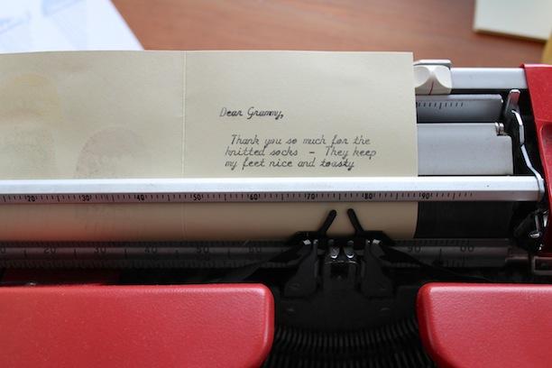 making yellow owl workshop stamp set thank you notes typing on a cursive typewriter