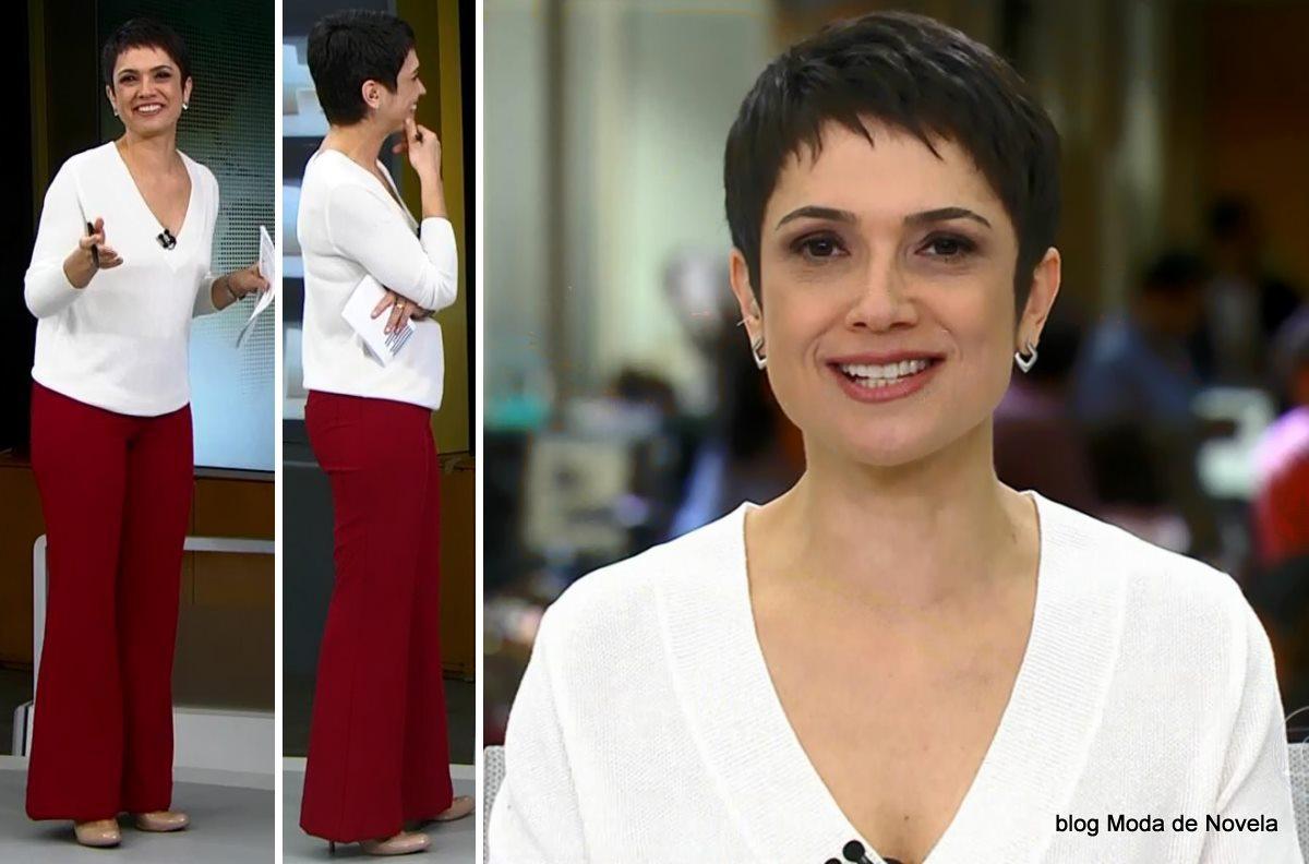 moda do programa Jornal Hoje - look da Sandra Annenberg dia 11 de junho