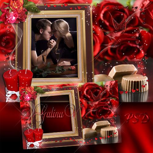 Романтическая рамка - Розы и шоколад