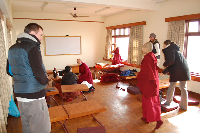 Students settling into class at Rigpe Dorje Institute