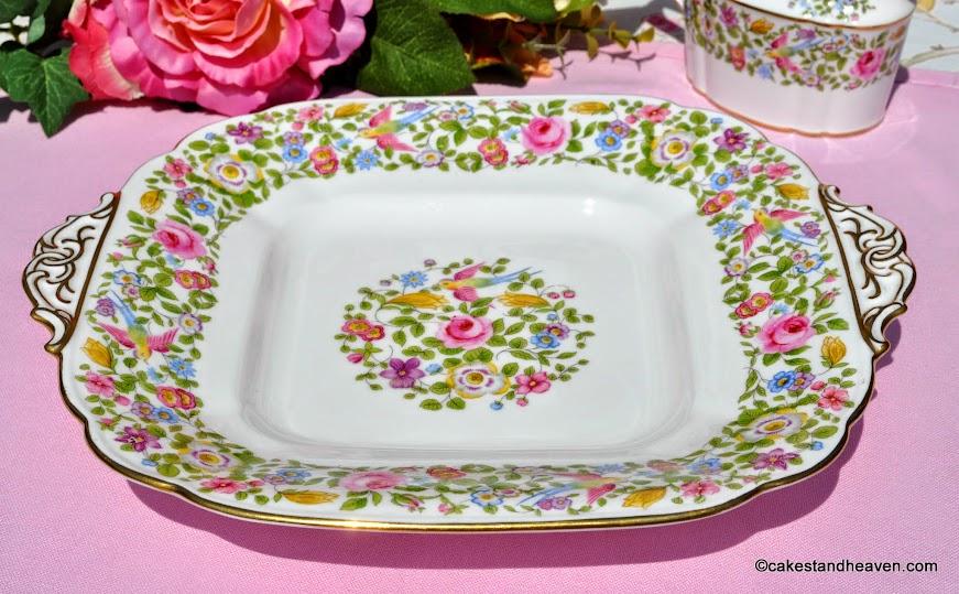 Royal Crown Derby A454 Vintage Floral Cake Plate