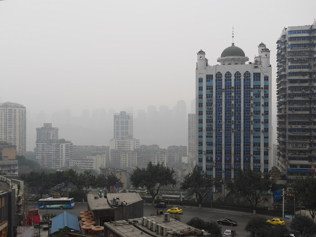view from top of SML Central Square in Chongqing looking towards the Yangtze River