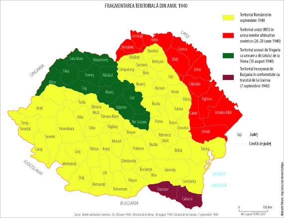Harta administrativ-teritorială a României în 1940