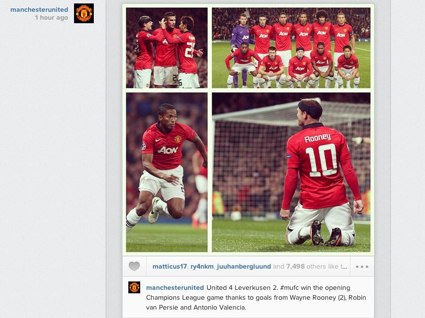 Man United post Instagram picture celebrating 4 2 win over Bayer Leverkusen