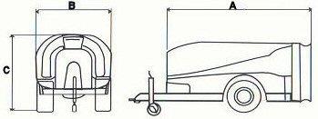 Σχεδιάγραμμα διαστάσεων ψεκαστικού (νεφελοψεκαστήρα) συρόμενου Darin τύπου Eurocompact
