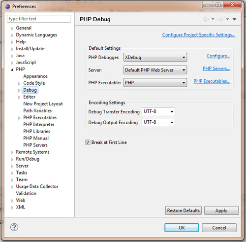 php debug eclipse