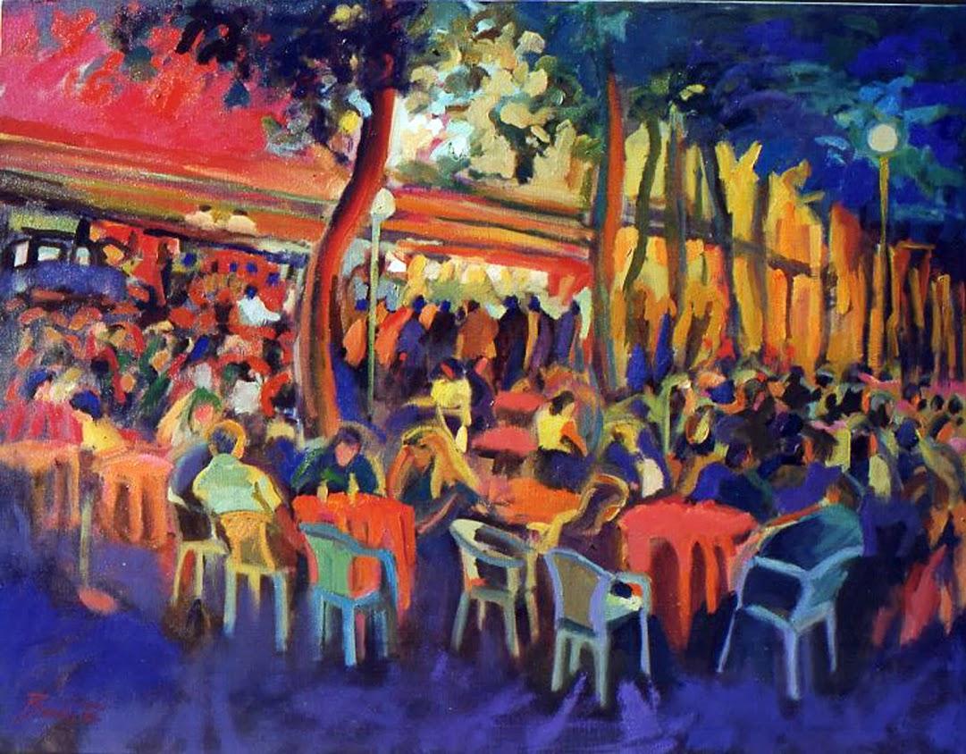 José Bautista,Pintor,José Bautista pinturas,Pintura Noche bulliciosa