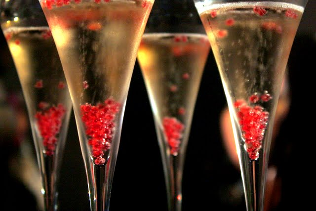 Champagne with pink bubbles at a molecular gastronomy dinner in London