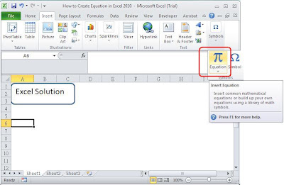 how to create the lnear equation on excel