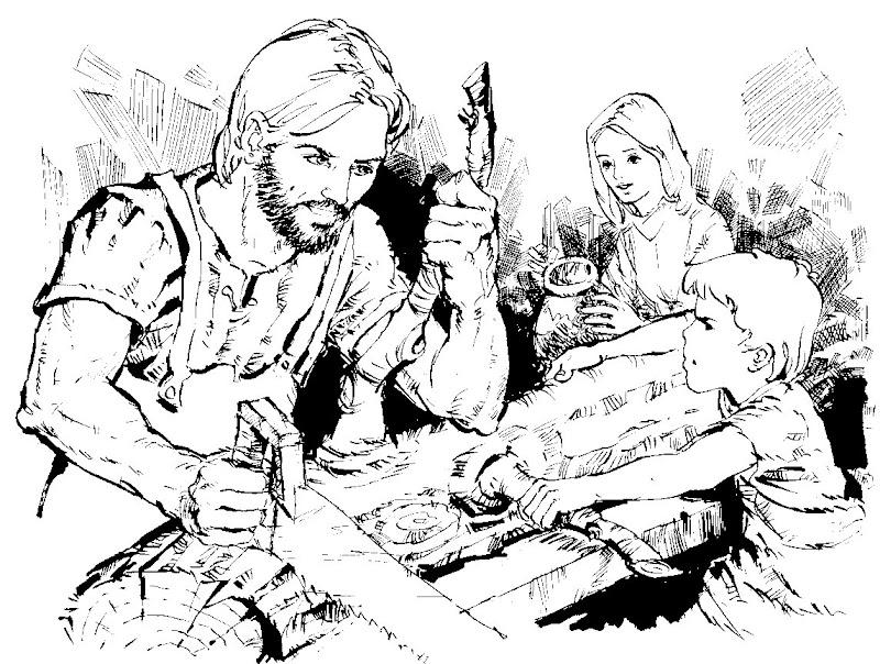Jesucristo cortando madera para colorear