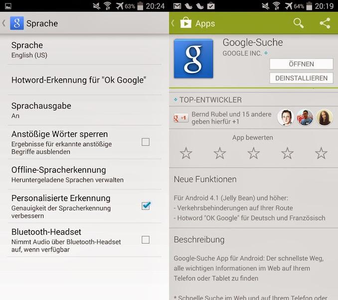Google Websuche App OK Google