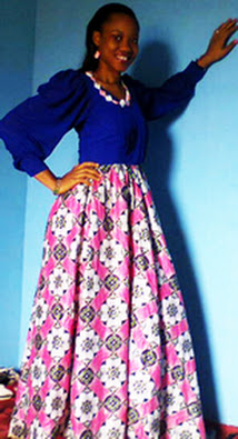 girl in maxi gown, pink ankara