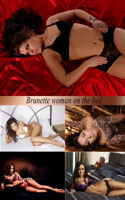 Stock Photo: Brunette woman on the bed