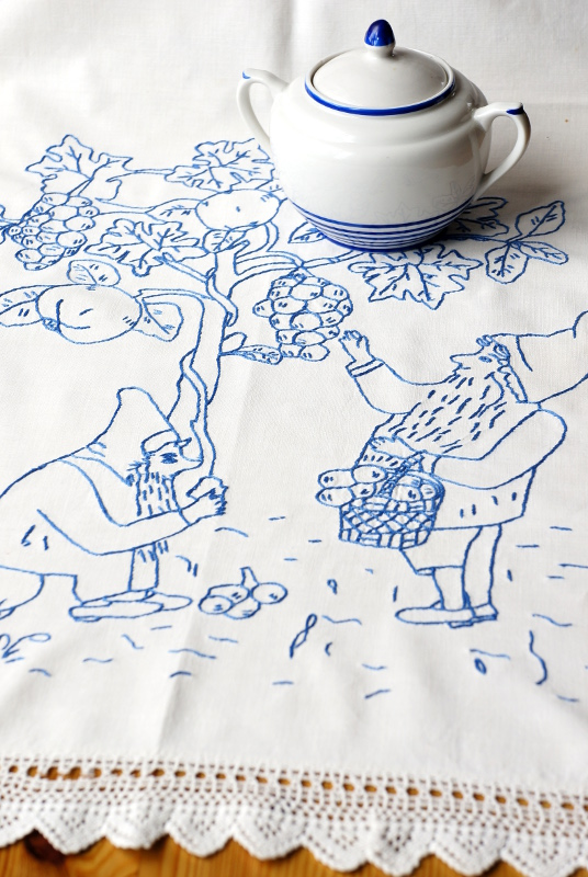 Antique blue and white embroidered towel