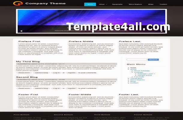 Black Gray Business Jquery Drupal Theme Template